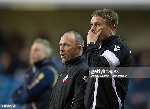 Bolton Wanderers manager Phil Parkinson watches on anxiously as Millwall press in the 2nd half during the Sky Bet League One match between Millwall...