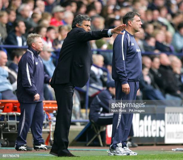 Bolton Wanderers' manager Sam Allardyce and coach Sammy Lee and Chelsea manager Jose Mourinho