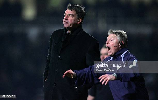 Bolton Wanderers Manager Sam Allardyce and his Assistant Sammy Lee issue instructions to their players during the FA Cup Fifth Round Replay match...