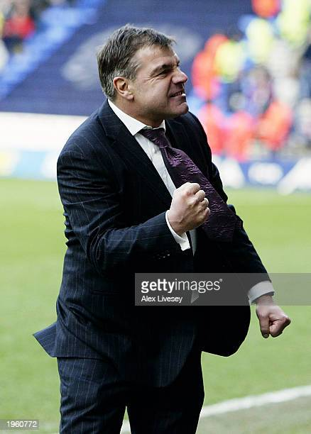 Bolton Wanderers manager Sam Allardyce celebrates his teams vital win during the FA Barclaycard Premiership match between Bolton Wanderers and West...