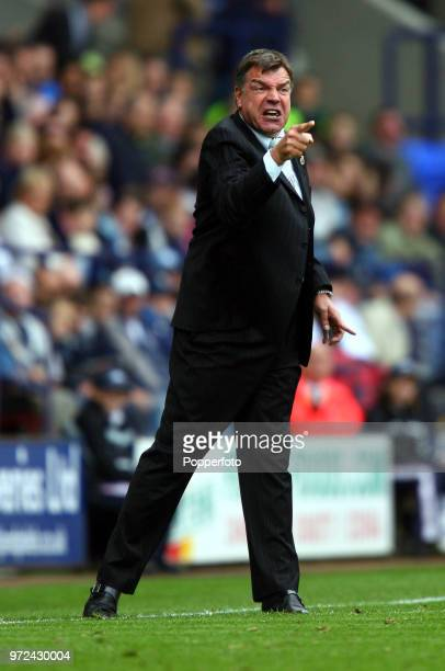 Bolton Wanderers manager Sam Allardyce shouts instructions from the touchline during the Barclays Premiership match between Bolton Wanderers and...
