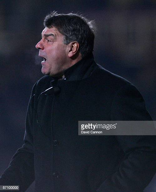 Bolton Wanderers Manager Sam Allardyce shouts instructions to his players during the FA Cup Fifth Round Replay match between West Ham United and...