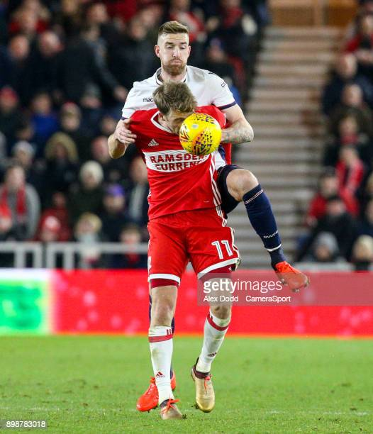 MIDDLESBROUGH ENGLAND DECEMBER Bolton Wanderers' Mark Beevers battles with Middlesbrough's Patrick Bamford during the Sky Bet Championship match...