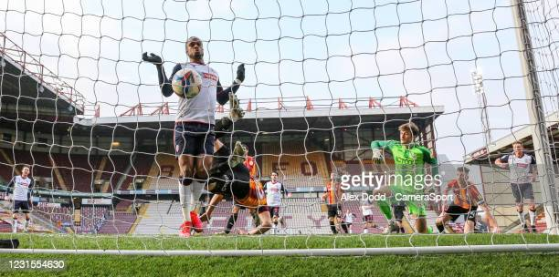 Bolton Wanderers' Nathan Delfouneso scores the opening goal during the Sky Bet League Two match between Bradford City and Bolton Wanderers at...