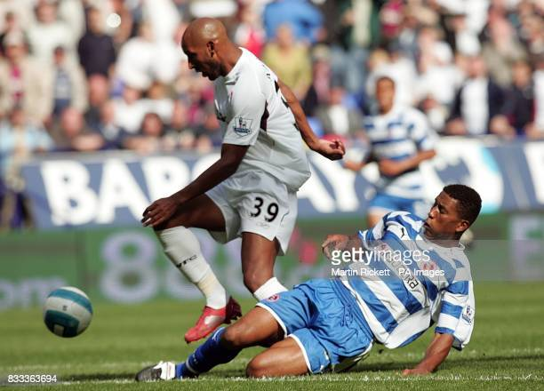 Bolton Wanderers' Nicolas Anelka skips past the challenge of Reading's Ulises De la Cruz