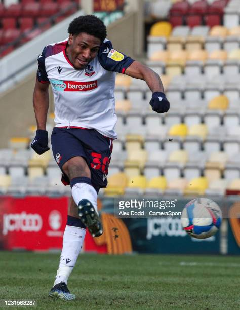 Bolton Wanderers' Oladapo Afolayan during the Sky Bet League Two match between Bradford City and Bolton Wanderers at Northern Commercials Stadium on...