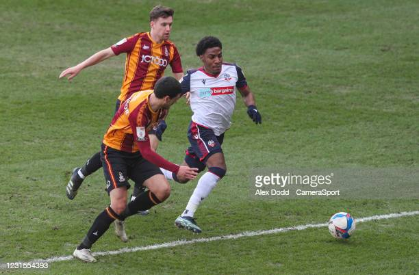 Bolton Wanderers' Oladapo Afolayan takes on Bradford City's Anthony O'Connor during the Sky Bet League Two match between Bradford City and Bolton...