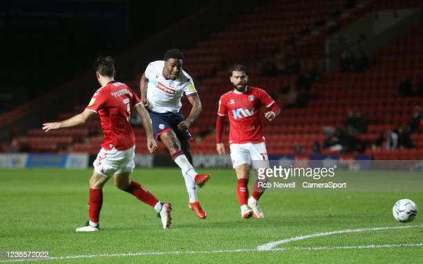 Bolton Wanderers' Oladapo Afolayan with a first half shot during the Sky Bet League One match between Charlton Athletic and Bolton Wanderers at The...