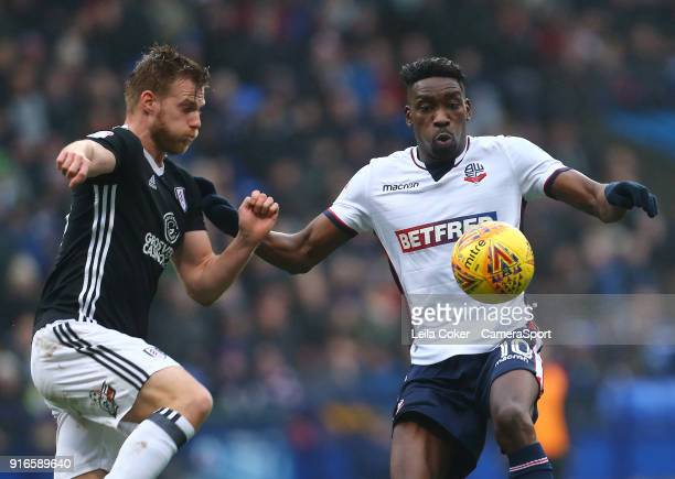 Bolton Wanderers' Sammy Ameobi battles for the ball against Tomas Kalas of Fulham during the Sky Bet Championship match between Bolton Wanderers and...