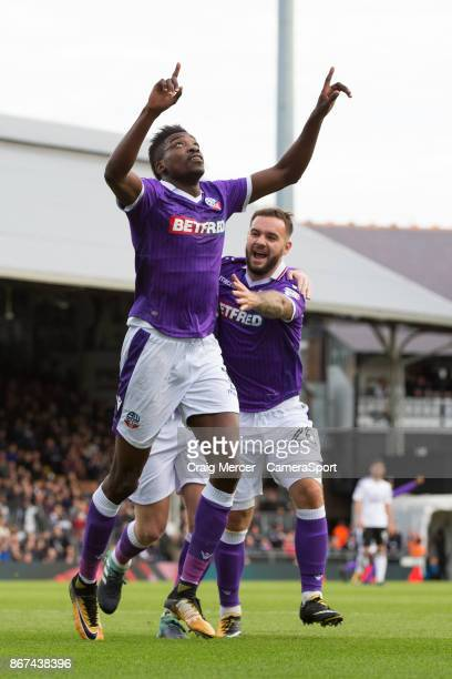 Bolton Wanderers' Sammy Ameobi celebrates scoring the opening goal with team mates during the Sky Bet Championship match between Fulham and Bolton...