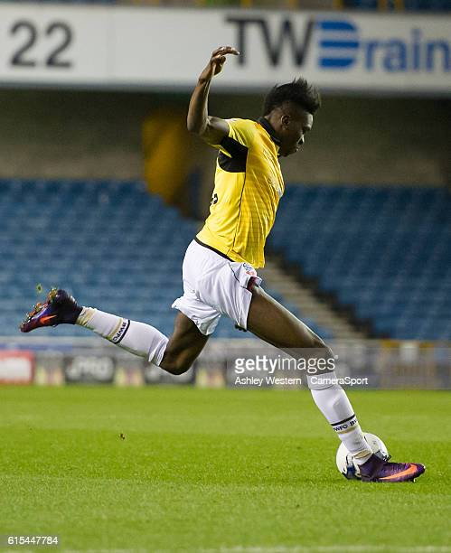 Bolton Wanderers' Sammy Ameobi scores the opening goal during the Sky Bet League One match between Millwall and Bolton Wanderers at The Den on...