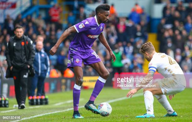 Bolton Wanderers' Sammy Ameobi takes on Leeds United's Gaetano Berardi during the Sky Bet Championship match between Leeds United and Bolton...