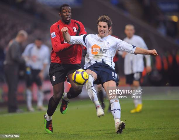 Bolton Wanderers' Samuel Ricketts and Fulham's Stefano Okaka battle for the ball
