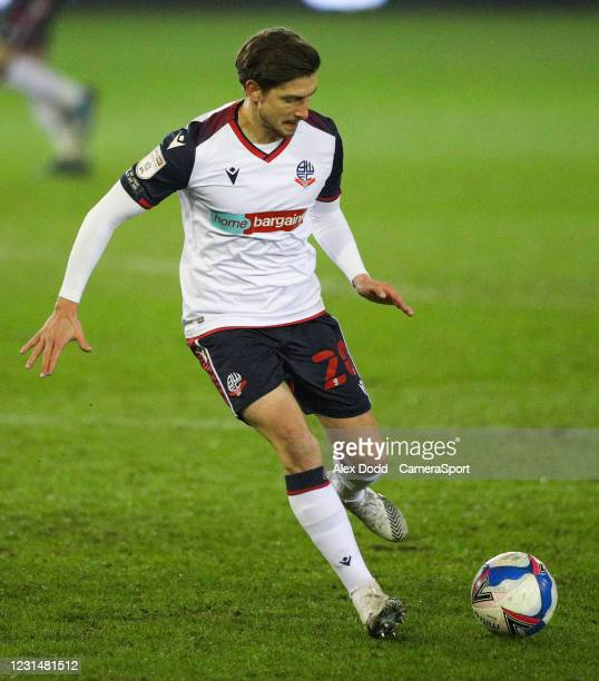 Bolton Wanderers' Shaun Miller during the Sky Bet League Two match between Oldham Athletic and Bolton Wanderers at Boundary Park on March 2, 2021 in...