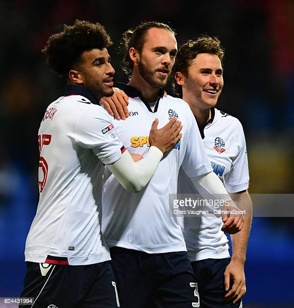 Bolton Wanderers' Tom Thorpe centre celebrates scoring his sides second goal with teammates Derik Osede left and Lawrie Wilson during the Sky Bet...