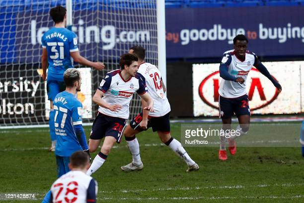 Boltons Shaun Miller celebrates the injury time winne during the Sky Bet League 2 match between Bolton Wanderers and Barrow at the Reebok Stadium,...