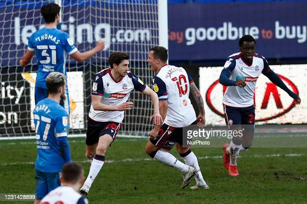 Boltons Shaun Miller celebrates the injury time winner during the Sky Bet League 2 match between Bolton Wanderers and Barrow at the Reebok Stadium,...