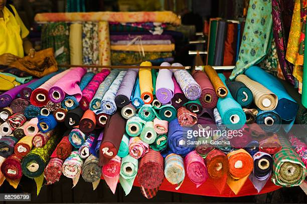 Bolts of colorful fabric
