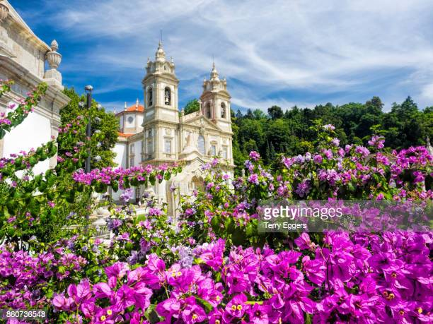 Bom Jesus do Monte complex  with bright flowers