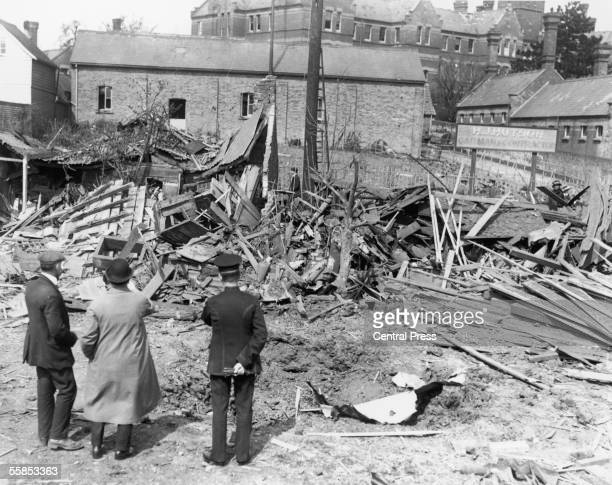 Bomb damage after a German zeppelin raid on Maldon Essex 1915