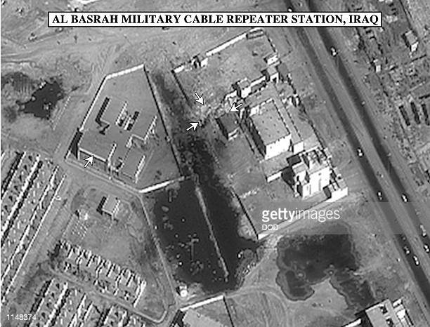 Bomb damage assessment photo of the Al Basrah Military Cable Repeater Station Iraq used by Gen Anthony C Zinni US Marine Corps commander in chief...