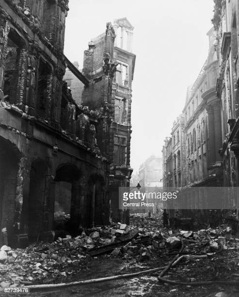 Bomb damage caused by a World War II incendiary air raid on Ave Maria Lane London 4th January 1941 The raid took place on 29th December 1940 The...