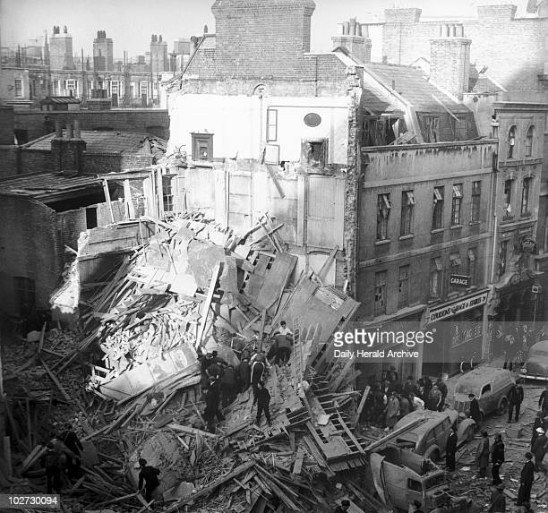 Bomb damage in Central London Second World War 1940' A view of the damage in Central London when a German bomb dropped on a number of small cafes...