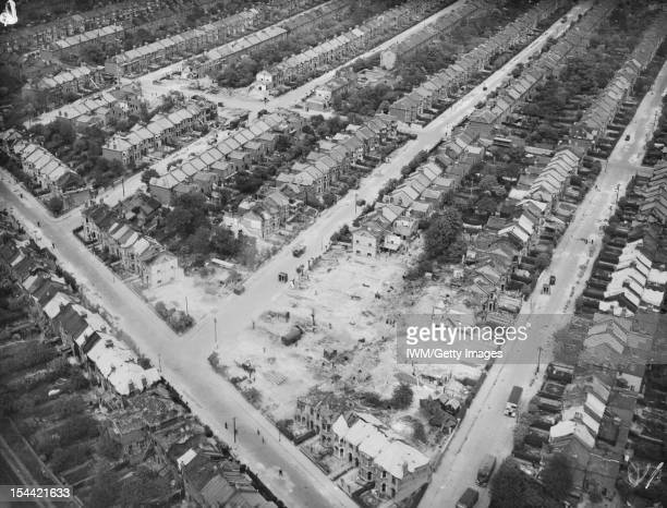 Bomb Damage In London England 22 April 1945 Aerial view from the south showing the damage resulting from a German V2 rocket missile which exploded at...