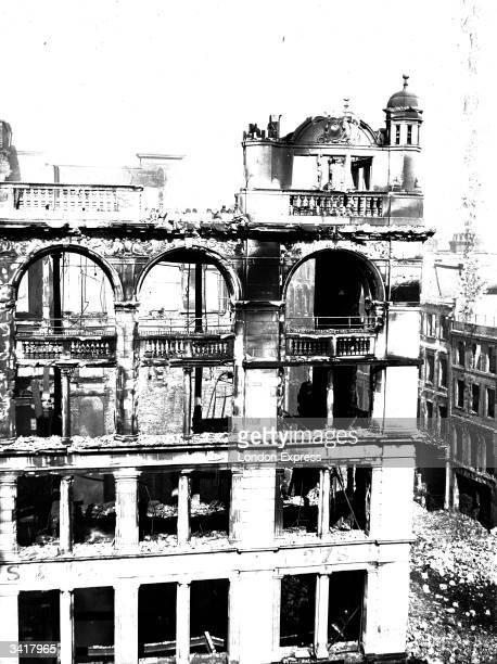 Bomb damage in Oxford Street in London.