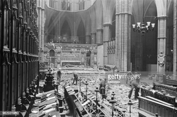 Bomb damage inside Westminster Abbey, London, 13th May 1941.