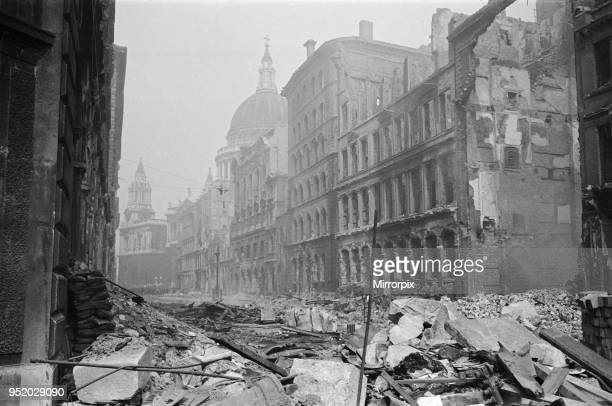 Bomb damage near St Paul's Cathedral 13th May 1941