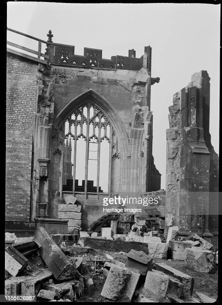 Bomb damage to Manchester Cathedral Greater Manchester circa 1940sThe west window of the Ely Chapel at the cathedral showing bomb damage inflicted by...