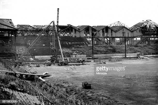 Bomb damaged Old Trafford football ground, pictured shortly after the Second World War September 1945.