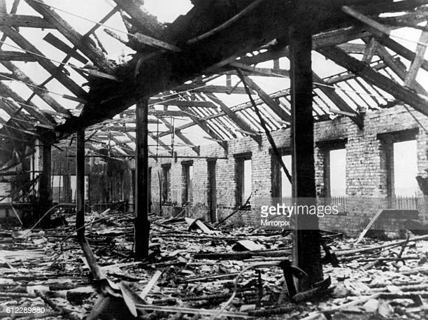 Bomb damaged Old Trafford home ground of Manchester United Football Club pictured shortly after Second World War 1945