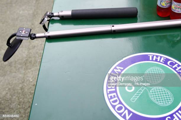 Bomb detection devices lie on a table at Wimbledon alongside some bottles of squash