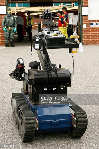 Bomb Disposal Robot is tested as police in the Australian state of Victoria conduct a chemical biological radiological hostage exercise at Caulfield...