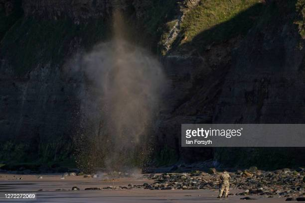 Bomb Disposal soldiers detonate a hand grenade found on the beach on September 13, 2020 in Saltburn-by-the-Sea, England. A beachcomber, Azaan Jamil...