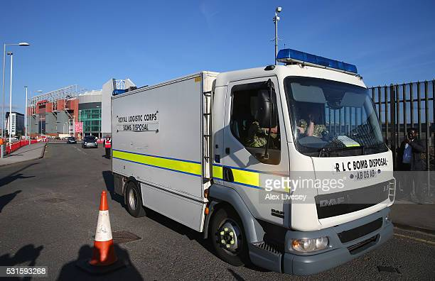 A bomb disposal unit is seen outside Old Trafford after the Barclays Premier League match between Manchester United and AFC Bournemouth was posponed...