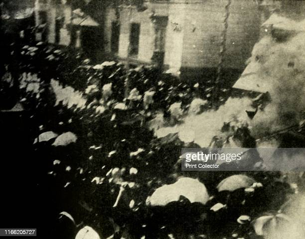 A bomb explodes on the day of the wedding of King Alfonso XIII and Victoria Eugenie of Spain Madrid 31 May 1906 'The most remarkable Press picture...