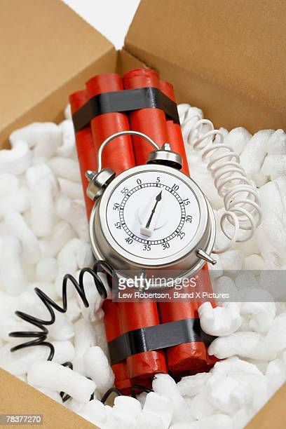 bomb in box - time bomb stock photos and pictures