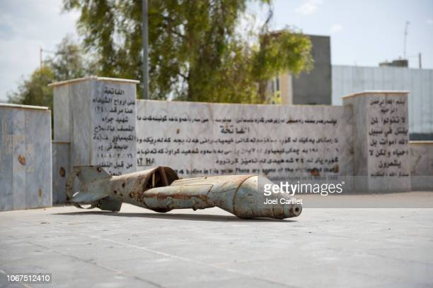 bomb remains in halabja, iraq, site of chemical weapons attack - halabja stock pictures, royalty-free photos & images