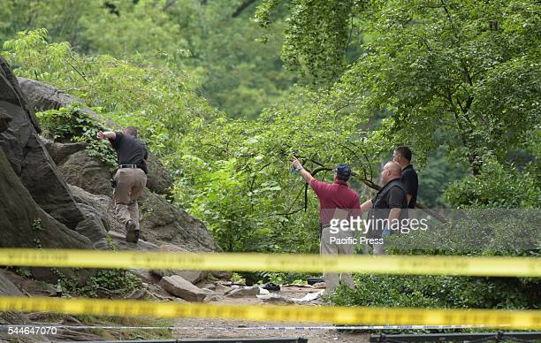NYPD bomb squad investigators gesture as they examine the area where a bomb of unknown origin exploded injuring a hiker NYPD emergency services FBI...