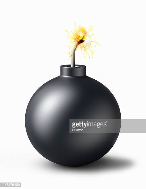 bomb with burning fuse - fuse stock photos and pictures
