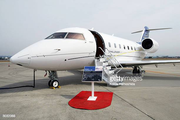 Bombardier Challenger 604 plane is displayed at the Nagoya 2004 Business Aviation Conference at Nagoya Airport March 2 2004 in Nagoya Japan This...