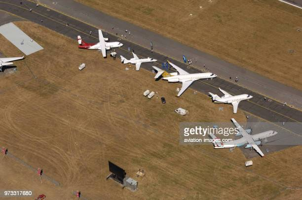 Bombardier Global Express XRS DHC8 Q400 Challenger 604 Learjet 45 and Air Madagascar ATR 42500 parked in the staticdisplay at the 2006 Farnborough...