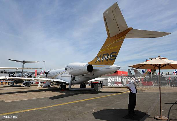 Bombardier Global Express XRS sits on display at the Paris Air Show in Le Bourget France on Wednesday June 17 2009 The 48th International Paris Air...