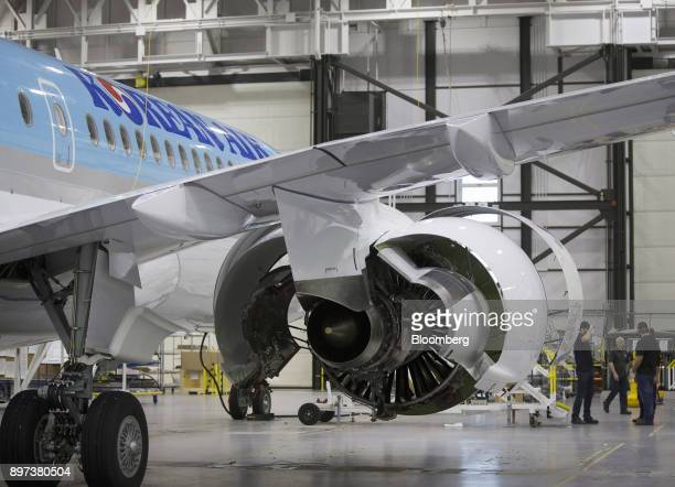 A Bombardier Inc CS300 airplane with a livery for Korean Air Lines Co is seen at the Bombardier hangar in Mirabel Quebec Canada on Friday Dec 22 2017...
