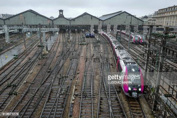 Bombardier suburban passengers train departs from the Gare SaintLazare railway station on Febuary 15 2018 in Paris A report submitted on February 15...