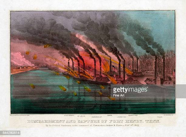 Bombardment and Capture of Fort Henry Tennessee by the Federal Gunboats under Command of Commodore Andrew H Foote February 6th 1862 handcolored...