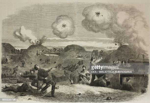 Bombardment of Fort Fisher, near Wilmington, New York, United States of America, American Civil War, illustration from the magazine The Illustrated...
